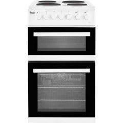 Beko EDP503W Solid Plate Electric Cooker with Double Oven, white