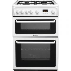 Hotpoint HAG60P 60cm Gas Double Oven , Catalytic Liners in main Oven , Timer , Double Glazed Door