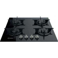 Indesit PR 752 W/I(BK) 75cm Gas On Glass Hob, 4 Burners
