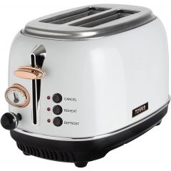 Tower T20016W 2 Slice Toaster, Stainless Steel