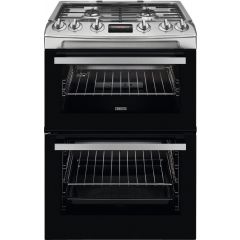 Zanussi ZCG63250XA 60cm Double Oven Gas Cooker With Electric Grill, Stainless Steel