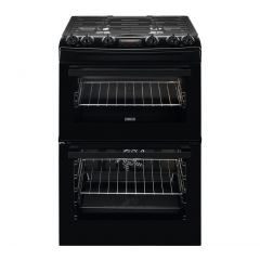 Zanussi ZCK66350BA Duel Fuel Double Oven Dual fuel 60cm Double Oven with Thermaflow® fan operated main oven and conventio