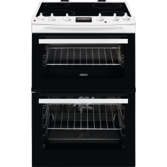 Zanussi ZCV66370WA 60cm Electric Double Oven with Ceramic Hob - White - A Rated
