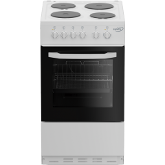 Zenith ZE503W 50cm Single Oven Electric Cooker with solid plate, White